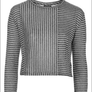 TOPSHOP Women's Gray Stripe Panel Crop Top Small